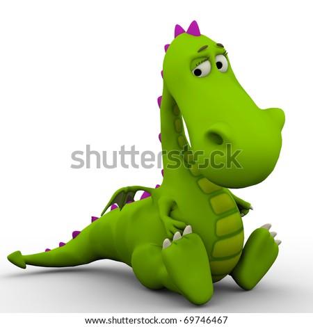 dino baby dragon so sad - stock photo