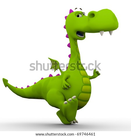 dino baby dragon walking arround - stock photo