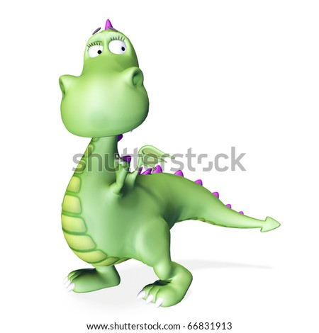 dino baby green dragon paying attention - stock photo