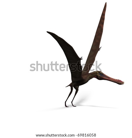 Dinosaur Anhanguera Pterosaur. 3D rendering with clipping path and shadow over white - stock photo