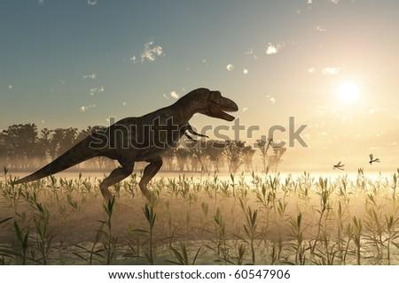 dinosaur at sunrise - stock photo