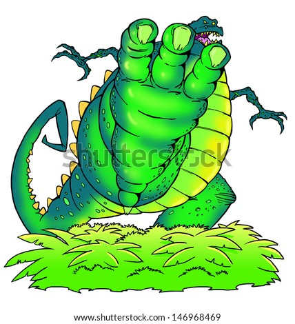 Dinosaur attacks - stock photo