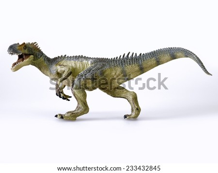Dinosaur called allosaurius, on white background