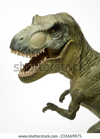 Dinosaur called T-Rex, with mouth open, on white background