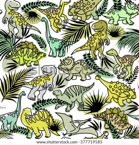 Dinosaur. Cartoon Dinosaur pattern. Funny Dinosaur and tropical plant background. Dinosaur animal sketch illustration background. Dinosaur Pattern - stock photo