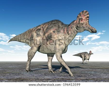 Dinosaur Corythosaurus Computer generated 3D illustration - stock photo