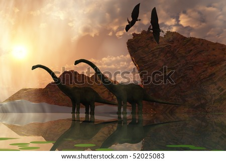 DINOSAUR DAWN - Two diplodocus dinosaurs and two flying pterodactyl birds greet the early morning mist. - stock photo