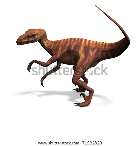 Dinosaur Deinonychus. 3D rendering with clipping path and shadow over white - stock photo