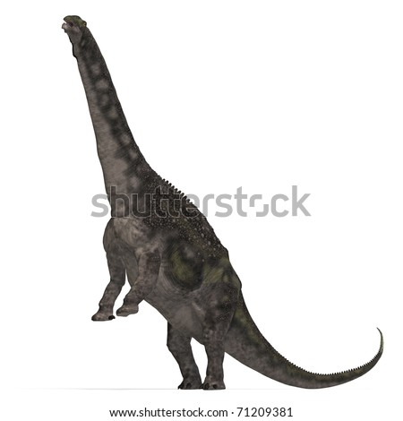 Dinosaur Diamantinasaurus. 3D rendering with clipping path and shadow over white