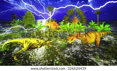 Dinosaur doomsday - with lightning strike - stock photo
