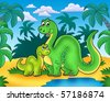 Dinosaur family in landscape - color illustration. - stock photo