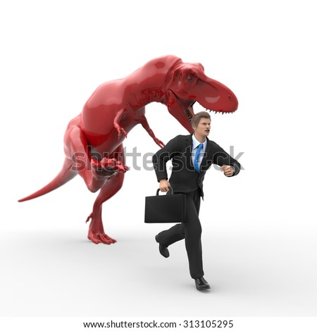 dinosaur hunting for a businessman - stock photo