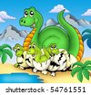Dinosaur mom with little babies - color illustration. - stock vector