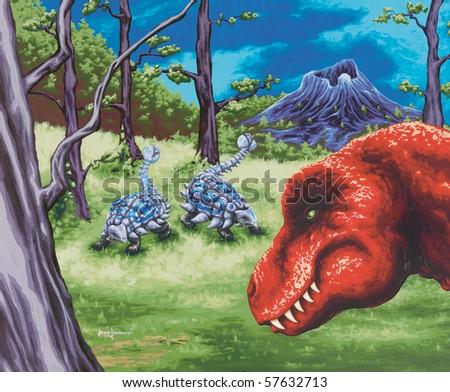 Dinosaur Painting - stock photo