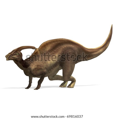Dinosaur Parasaurolophus. 3D rendering with clipping path and shadow over white - stock photo