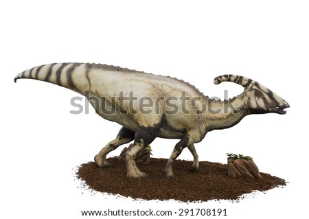 Dinosaur (Parasaurolophus Walkeri) on a white background. Lifesize model of a dinosaur that grew 9.5 metres long and weighed 3 tons. - stock photo