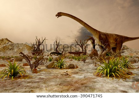 Dinosaur. Prehistoric Jungle, landscape, valley with Dinosaurs. - stock photo