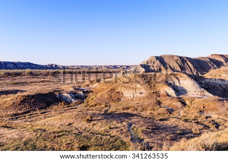 Dinosaur Provincial Park  landscape  noted for the beauty of its badlands landscape and as a major fossil site, Alberta,Canada - stock photo