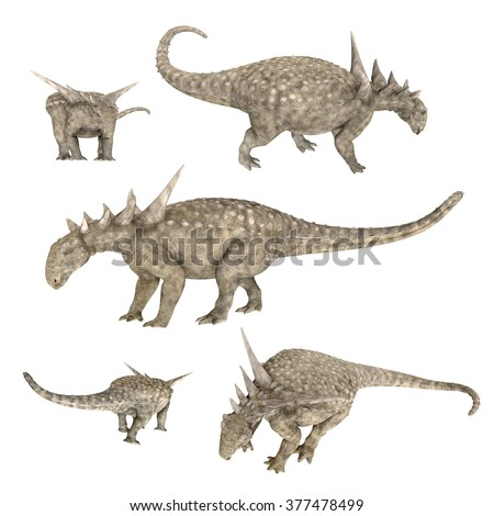 Dinosaur Sauropelta isolated on white background Computer generated 3D illustration - stock photo
