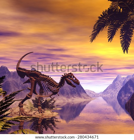 Dinosaur Skeleton in a fantasy landscape in the sunset