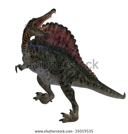 dinosaur Spinosaurus. 3D render with clipping path and shadow over white