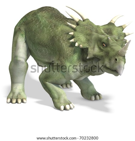 Dinosaur Styracosaurus. 3D rendering with clipping path and shadow over white - stock photo