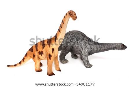 dinosaur toys isolated on white - stock photo