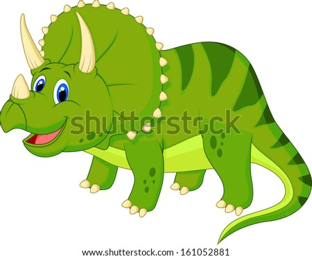 Dinosaur Triceratops cartoon - stock photo