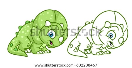 Dinosaur Triceratops Coloring Page Cartoon Illustrations Stock ...