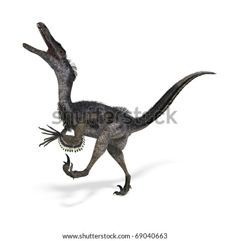 Dinosaur Velociraptor. 3D rendering with clipping path and shadow over white - stock photo
