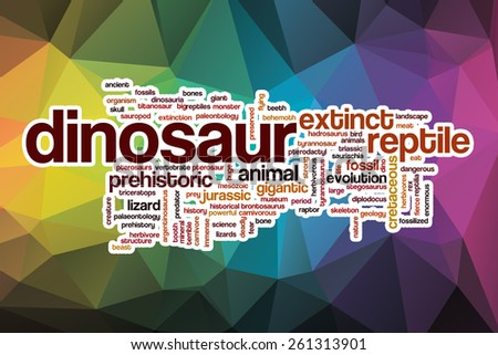 Dinosaur word cloud concept with abstract background - stock photo