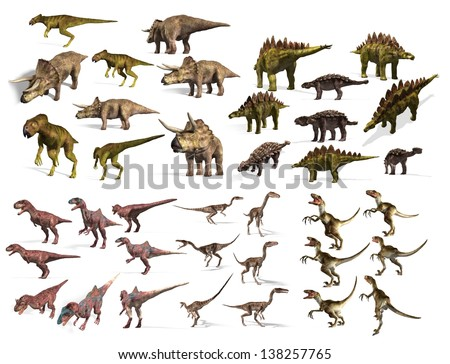 dinosaurs collection - stock photo