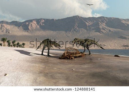 Dinosaurs foraging on the beach - stock photo