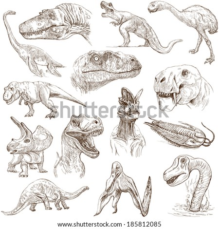 DINOSAURS (set no. 1) - Collection of an hand drawn illustrations. Description: Full sized hand drawn illustrations drawing on white background. - stock photo