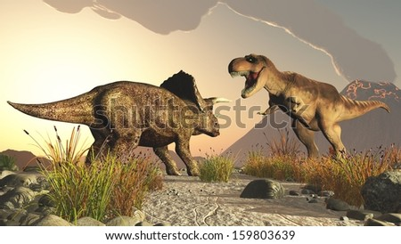 Dinosaurs triceratops and tyrex jurassic - stock photo