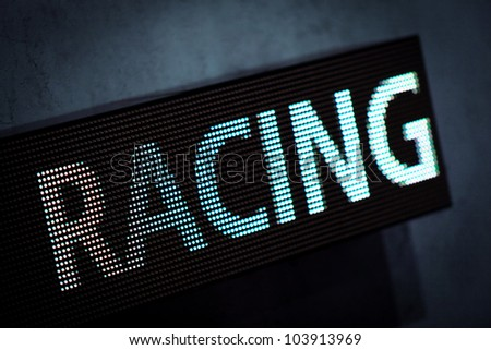 Diode Display with Racing Lettering