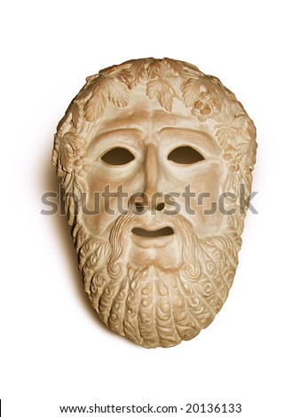 Dionysus mask - ceremonial culture of the wine antique Greece. Bacchus mask of classic mythology. Terracotta ancient Greek Dionis mask isolated on white. - stock photo