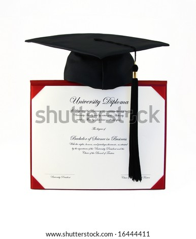 Diploma and Cap - stock photo