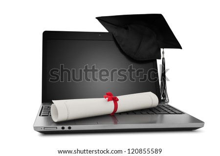 Diploma and laptop - stock photo
