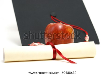 Diploma and Mortarboard - stock photo