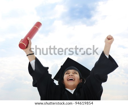 Diploma graduating little arabic student kid - stock photo