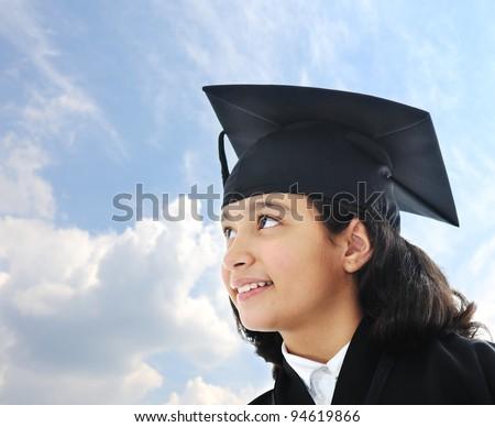 Diploma graduating little arabic student kid - stock photo