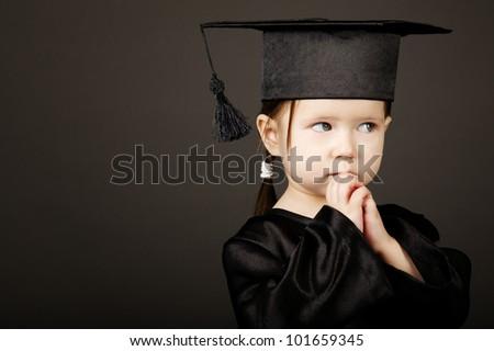 Diploma graduating little student kid - stock photo