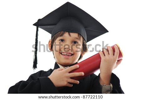 Diploma graduating little student kid, successful elementary school