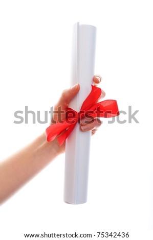 diploma graduation showing university education concept on white background - stock photo