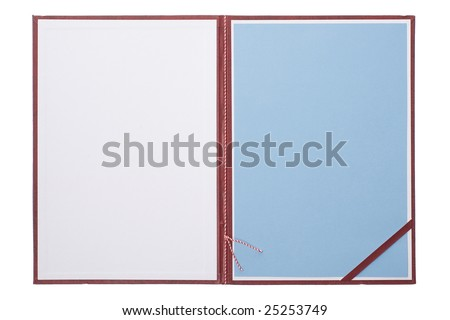 diploma - open blank certificate cover - stock photo