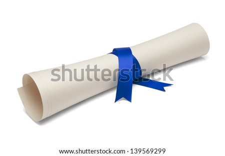 Diploma tied with blue ribbon on a white isolated background. - stock photo