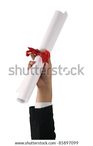 Diploma with a red ribbon in hand isolated on white - stock photo