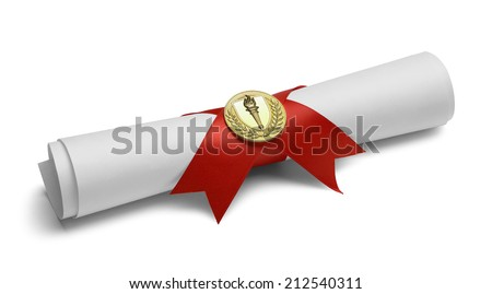 Diploma with Red Ribbon and Gold Torch Medal Isolated on White Background. - stock photo