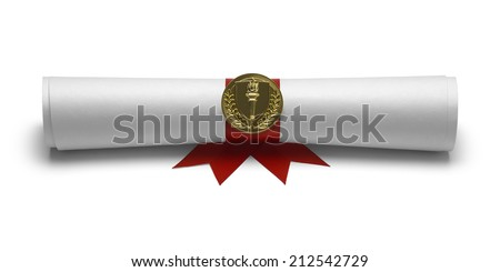 Diploma with Red Ribbon and Torch Seal Front View Isolated on White Background. - stock photo